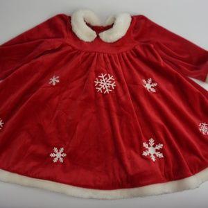 Girls Christmas Holiday Red Velvet Santa White